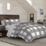 Gray buffalo plaid comforter set – bedding for men